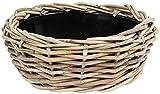 Ivyline WDBLPGRY44 15 cm Dry Pot Wicker Bowl Planter - Grey