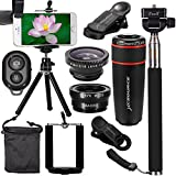 XCSOURCE Lenti Cellulari Kit 10 in 1 Obbiettivi Smartphone,Telescopio 8x per Cellulare/ Fisheye Obiettivo /Lente Grandangolo 0.67X + Lente Macro 10X, Bastone Selfie Bluetooth 3.0, Mini Treppiede per iPhone 7 / iPhone 7 Plus, iPhone 6s / 6s Plus,Samsung Galaxy S8 / S8+/S7 edge /S7 / S6, Huawei P10/P9 /P8, Sony, HTC, Nokia ed altri Smartphone XC311