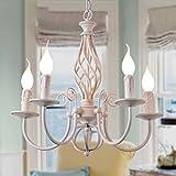 Kronleuchter Weiße Kerze Licht einfache europäischen Stil Garten mediterran Eisen Kronleuchter Schlafzimmer Restaurant Bar Tischlampe (einstellbar) A+