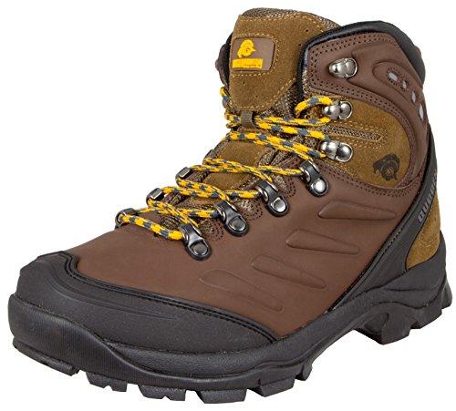 Guggen Mountain Gli Uomini Scarpe da Trekking Scarpe da Trekking Alpini Si Stivali Scarponi da Montagna Impermeabili M013, Colore Marrone, EU 42