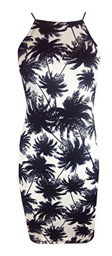 Poule à bretelles Motif Floral-Clothings Robe Bodycon Stretch - Black Palm Tree