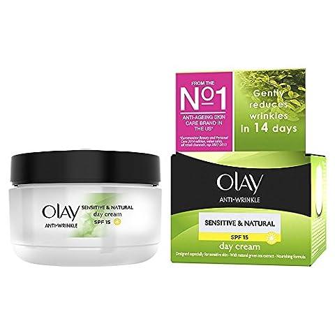 Olay Anti-Wrinkle Sensitive and Natural Gentle Moisturiser Day Cream SPF 15, 50 ml