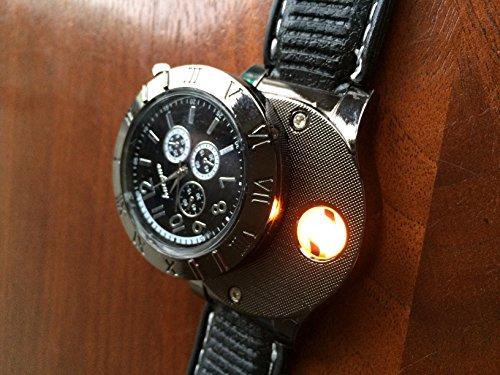 Ckeyin® 2 en 1 recargable sin llama a prueba de viento del reloj de la llama de mechero - Negro