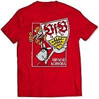 S - 5XL GOTS VfB Stuttgart T-Shirt Wappen Bordeaux in 8 verschiedenen Gr/ö/ßen verf/ügbar Wappen auf Brusttasche links gestickt