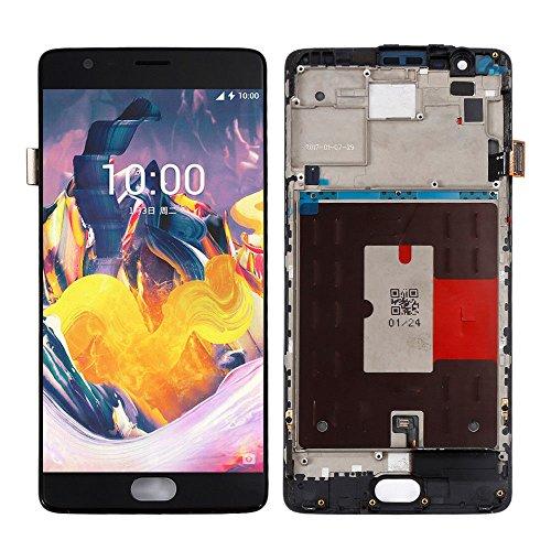 jiujinyi OnePlus 3 Three A3000 A3003 für Ersatz Bildschirm LCD Display im Komplettset Digitizer Glas Touchscreen Reparatur (Schwarz + Rahmen) -