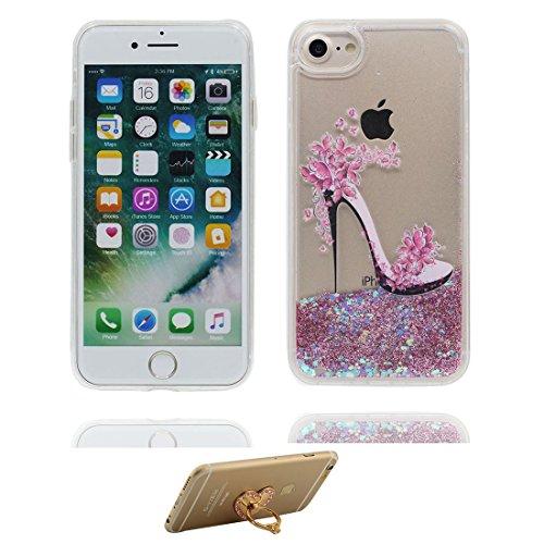 """iPhone 7 Hülle, Skin harte freie Handyhülle iPhone 7, Glitter Bling Transparent Hard Clear funkelt Shinny fließend, Apple iPhone 7 Case Cover 4.7"""", High Heels - Schock-bestän und Ring Ständer # 6"""