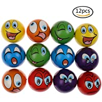 Set of 12 Emoji Face Foam Stress Balls Soft Squishy Hand Strength Squeeze Ball Children Adult Stress Relief Toy, 2.48inch