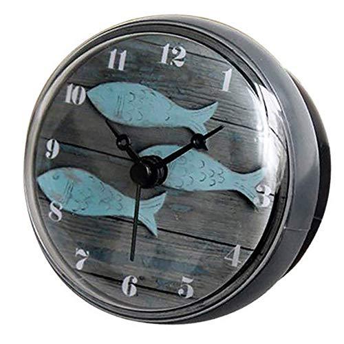 Hmjunboys Dusche Uhr Wasserdicht Badezimmer Wanduhr Kreative Mini Saugnäpfe Badezimmeruhr Mittelmeer Kleiner Fisch für Küche Wohnzimmer Schlafzimmer Dekoration, Ø 8 cm