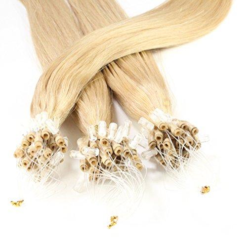 hair2heart 25 x 1g Echthaar Microring Loop Extensions, 50cm - glatt - #20 aschblond