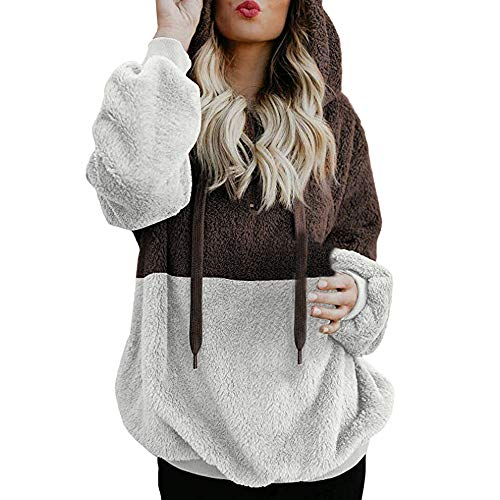 OSYARD Damen Reißverschluss Kapuzenpulli Mantel Winter Warme Wolltaschen Mantel Outwear, Frauen Wollmantel Fuzzy Sherpa Sweatshirt Fleece Pullover Warmer Sweatjacke Fleecejacken ()