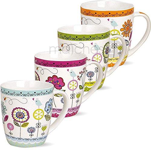 matches21 Tassen Kaffeetassen Kaffeebecher Motiv Blumendekor Porzellan 1 Stk. B-WARE ** PREISKRACHER ** je 10cm / 400ml