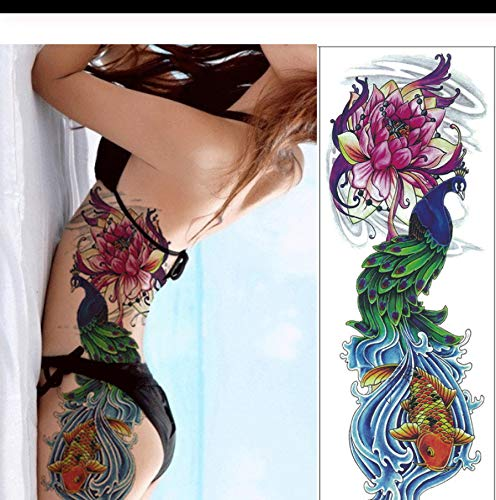 Tattoo Aufkleber Fuchs Hase Pfau Schädel Drache Vollarm Blume Tattoo Body Art Groß Groß Fake Tattoo Sleeve f pcs 3 ()