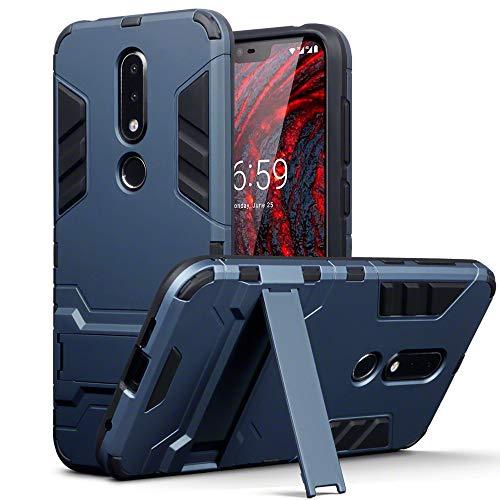 TERRAPIN, Kompatibel mit Nokia 6.1 Plus Hülle, Silikon + Polycarbonat Tasche mit Standfunktion - Dunkelblau