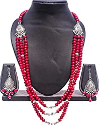 Pentacrafts German Silver Chain with Red Glass Bead Women Girl Threaded Necklace, Color American Red & Silver