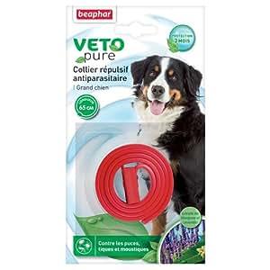 Beaphar - VETOPURE, collier répulsif antiparasitaire - grand chien - rouge