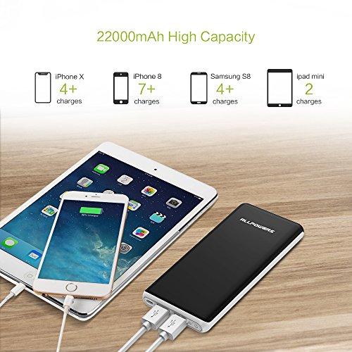 ALLPOWERS Power Bank 22000mAh Caricabatterie Portatile Batteria Esterna con 2 Porte USB per iPhone X/8/7/6s/se, iPad, Samsung, Huawei, Cellulare, Tablets