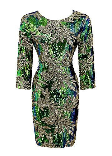 Romacci Damen Pailletten, figurbetontes Kleid 3/4 Ärmeln O Neck Abend Party beiläufiges Minikleid