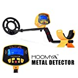 HOOMYA Detector de Metales de Alta Sensibilidad MD-3010II - 8.2 Pulgadas Bobina de Búsqueda Impermeable, Pantalla LCD de Objetos y Profundidad, Detect