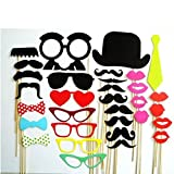 #6: Christmas Decoration Colorful Photo Booth Props Set of 32 Mustache On A Stick Wedding Party Photobooth Funny Masks Bridesmaid Gifts for Wedding Decoration (32pcs Colorful Props)