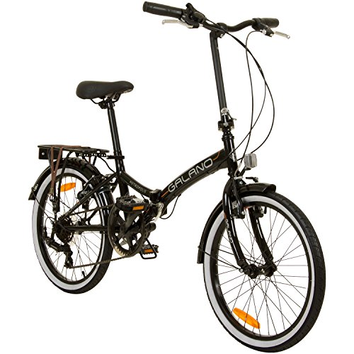 Galano 20 Zoll Klapprad Metropolis Fahrrad Faltrad Campingrad, Farbe:Schwarz