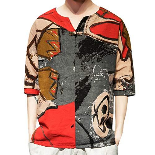 Cooljun Herren Workout Athletic Muscle Shirts Herren Ethno Style Tie Dye Halbarm Lässige Baumwolle Leinen Druck Shirt Bluse