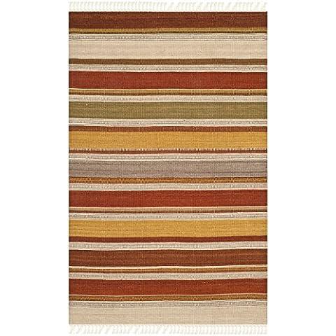 Kilim Safavieh rayas multicolores corredor: 2 pies 6. x 4 pies. Alfombra