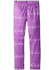 Hot Chillys Funktions Midweight Print - Pantalones de compresión de running para niño, color rosa, talla XL