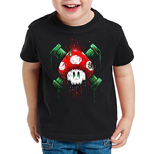 style3 Mario Totenkopf T-Shirt für Kinder videospiel konsole super world, Farbe:Schwarz;Größe:152