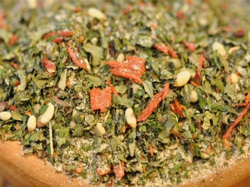 Rucola Pesto Gewürzmischung, Premium-Mischung mit Pinienkernen, für Dips, Pesto, zum Würzen von Nudelgerichten & Soßen, Trockenpesto, 100g - Bremer Gewürzhandel