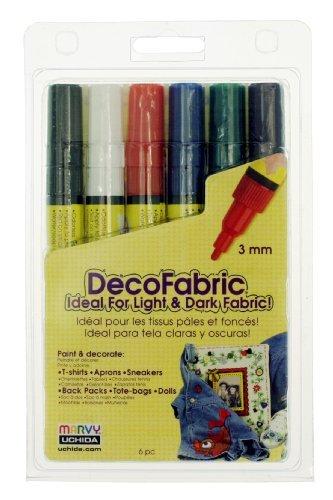 Uchida 222-6A 6-Piece Primary Decofabric Marker Set by Uchida Of America - Decofabric Marker
