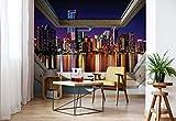 Skyline Der Stadt Nacht 3D-Dachfenster-Ansicht Vlies Fototapete Fotomural - Wandbild - Tapete - 254cm x 184cm / 2 Teilig - Gedrückt auf 130gsm Vlies - 10418V4 - Städte