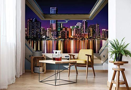Skyline Der Stadt Nacht 3D-Dachfenster-Ansicht Fototapete Fotomural - Wandbild - Tapete - 254cm x 184cm / 2 Teilig - Gedrückt auf 115gsm Muralpapier - 10418P4 - Städte