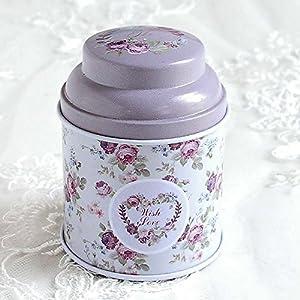 HuntGold floral joint double couche chariot à thé boîte de bonbons conteneur ménager(violet)