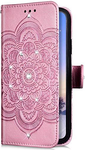 Uposao Kompatibel mit Samsung Galaxy M30S Hülle Leder Handyhülle Bling Glitzer Strass Diamant Mandala Blumen Muster Brieftasche Schutzhülle Flip Case Klapphülle Handy Tasche Etui,Rose Gold