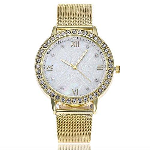 Uhren DELLIN V1322 Damen Beiläufige Stahlstreifen Quarz Edelstahl-Band-Marmorband-Uhr-analoge Armbanduhr (Golden)