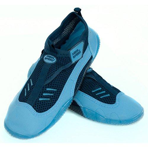 AQUA-SPEED® BEACH GIRL Chaussures d'Aqua (Femme Natation Plongée Kayak Piscine) Bleu clair / Bleu - 7