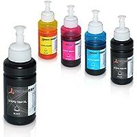 5 Tinten für Epson EcoTank L300 L350 L355 L365 L455 L550 L555 L565 L655 L100 L200 ET2550 ET2500 ET4500 ET4550 T6641 T6642 T6643 T6644, je 70ml