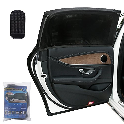 Lictin 2 Pack Parasol de Coche , Visera para Ventana lateral de coche - la Malla proporciona la máxima protección contra los rayos UVA para bebés, niños y mascotas - Fácil Instalación- Compatible con la mayoría de coches- BONUS Tablero estera antideslizante