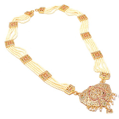 Jewar Mandi Necklace Set Gold Plated Multi-Color Gemstones Kundan Pearl Polki Ad Cz Handmade Jewelry with Out Earrings for Women & Girls
