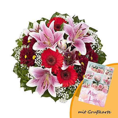 """Dominik Blumen und Pflanzen, Blumenstrauß \""""Charlotte\"""" mit rosa Lilien, Chrysantheme, Gerbera und Schleierkraut und Grußkarte \""""Alles Liebe\"""""""