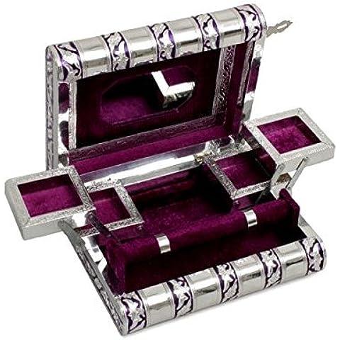 Store Indya, Decorative scorrevole Gioielleria Busto Organizzatore grande scatola Keepsake in legno con finitura in alluminio goffrato