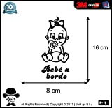 Sticker Bébé à Bord–Enfant à Bord––-Libres pour Voiture Moto et Ordinateur–-–Sticker, Decal, Autocollant–-–Copyright 2017| Just Go S.L.U. Noir