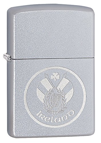 Zippo Unisex Irland Patch winddicht Feuerzeug, Satin Chrome, one size
