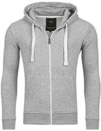 Young & Rich Hoodie Sweatjacke Herren Jacke Basic Sweater Sweatshirt Uni Hoody Kapuzenpullover Pullover mit Kapuze in der Farbe Grau XXL