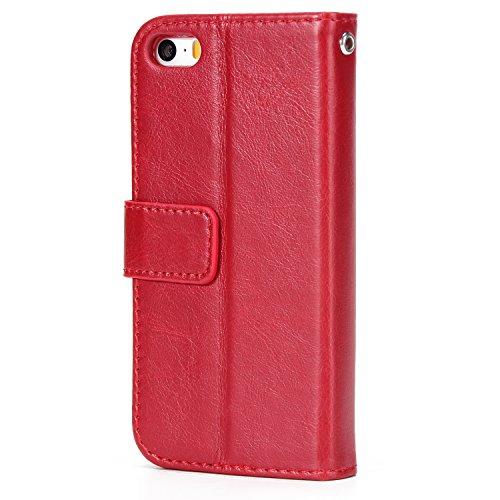 iPhone 5 5S Hülle Leder, E-Lush Premium PU Leder Tasche für iPhone 5 5S (4.0 zoll) Einfach Einfarbig Muster Klapphülle 360 Full Body Protection Flip Case Wallet Cover Weiche Flexible TPU Soft Rückseit rot