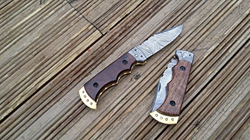 51HILuMcfVL - Perkin Handmade Damascus Folding Knife - Legal to Carry