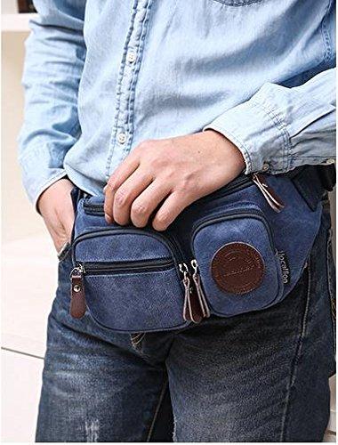 Zll/multifunzione tasca sul petto Uomo Casual Tela Borsa a tracolla Fashion femmina esterno tasca per cellulare, marrone blu