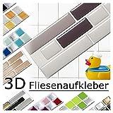 Grandora 4 Piezas Set 28,6 x 5,4 cm Diferentes Tonos de Gris Etiqueta Adhesiva para baldosas Design 5 I Pegatina Mosaic 3D Sticker Cocina Baño Azulejo