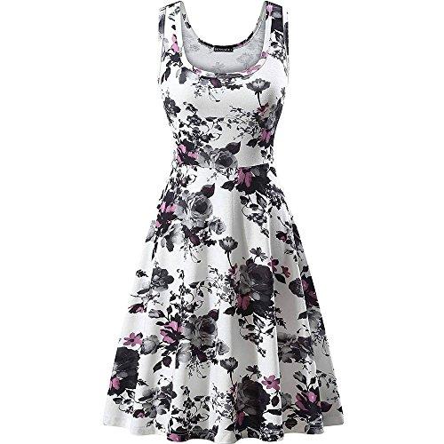 Berimaterry Damen Blumenkleid Ärmelloses Beiläufiges Strandkleid Sommerkleid Tank Kleid A-Linie Ausgestelltes Trägerkleid Knielang Swing Kleider -