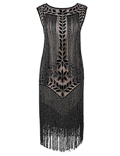 Gatsby Kleid 1920er Paillette Quaste Charleston Kleider M Schwarz Beige Silber (Lange Flapper-kleid Kostüm)